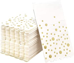 100 Metallic Gold Foil Dot Guest Napkins Disposable Paper Pack Elegant Paper Dinner Hand Napkin for Bathroom Wedding Holiday Party Anniversary Birthday Baby Shower Decorative Towels by Gift Boutique