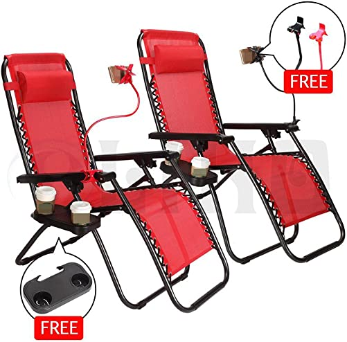 Nlyefa 2pcs Zero Gravity Folding Lounge Beach Chair with Utility Tray Outdoor Recliner Red