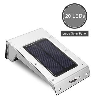 Grande topplus brillante 20LED exterior solar Sensor de movimiento luz, on batería de Li intercambiable, Solar Resistente al agua alta Sensor Distancia automática Luz para jardín Terraza Patio, Plata
