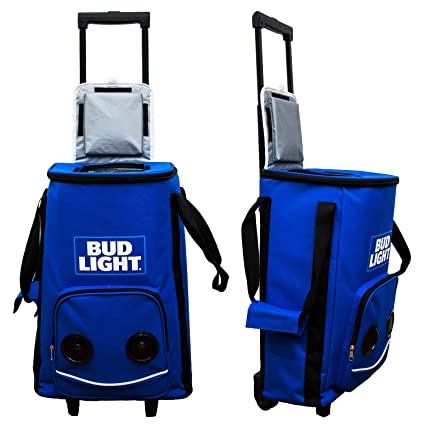 Amazon com: Bud Light Rolling Cooler Bag On Wheels Bluetooth
