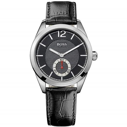 Hugo Boss 0 - Reloj de cuarzo para hombre, con correa de cuero, color negro: Amazon.es: Relojes