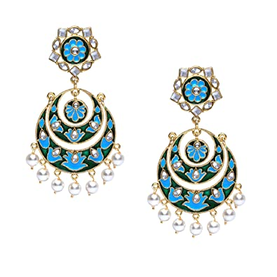 78dcfcc9529 Stylepotion ® Handmade Ethnic Afghani Stylish Gold Colour Plated with  Artificial Kundan Pearl Turquoise and Green