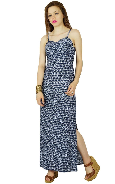 Bimba Frauen lange Maxi-Kleid mit spaghette Band blauen Sommerkleid mit Seitenschlitz