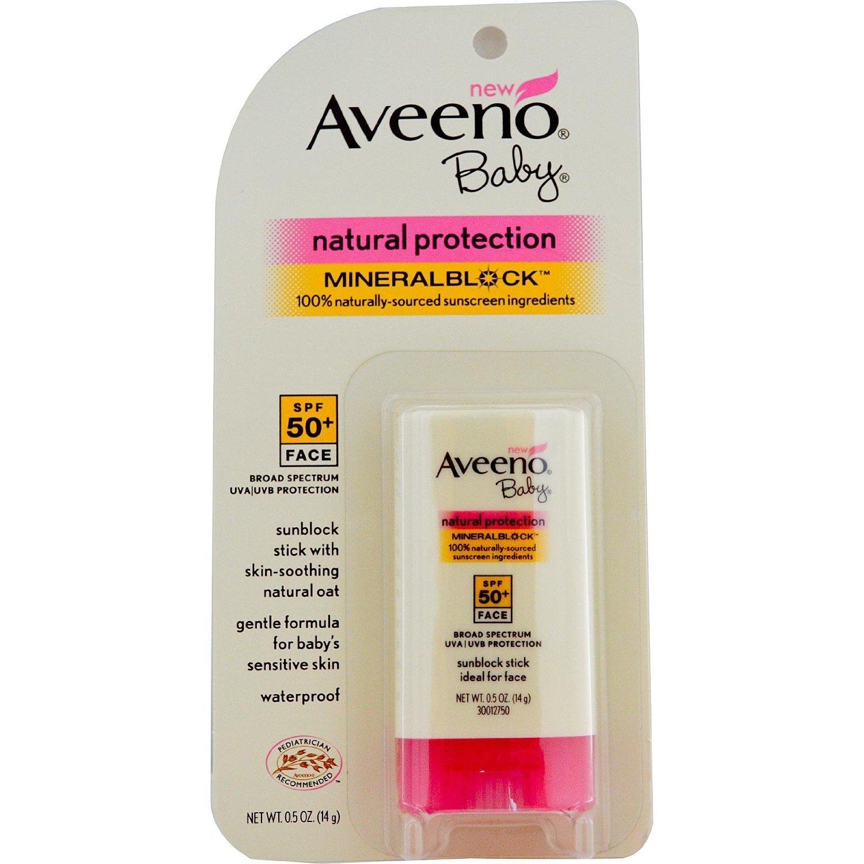 AVEENO Baby Continuous Protection Face Stick Sunscreen SPF 50, 0.5 oz