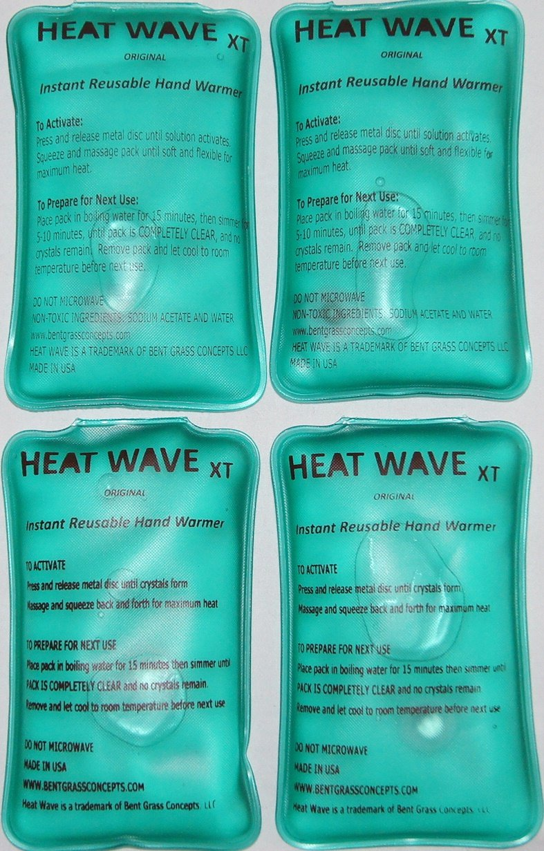 4 HEAT WAVE XT Extra Large, Extra Long Lasting Instant Reusable Hand Warmers/Heat Packs; 3x6 inch - 2 pairs - Premium Quality - Medical Grade - MADE IN USA! (not China)