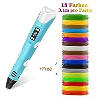 Stylo 3d Lovebay 3D Filament Pen, Intelligent 3D Stylo Doodle DIY Dessin Pen 3D Printer Arts, 3D LED Display, Compatible avec Φ 1.75 mm PLA / ABS Filament 3D d'impression, Cadeau Conçu pour Enfant ou Adulte, Bleu.