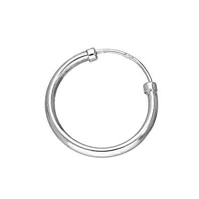 9ct White Gold 14mm Mens Single Hoop Earring Rzi6N8olbF