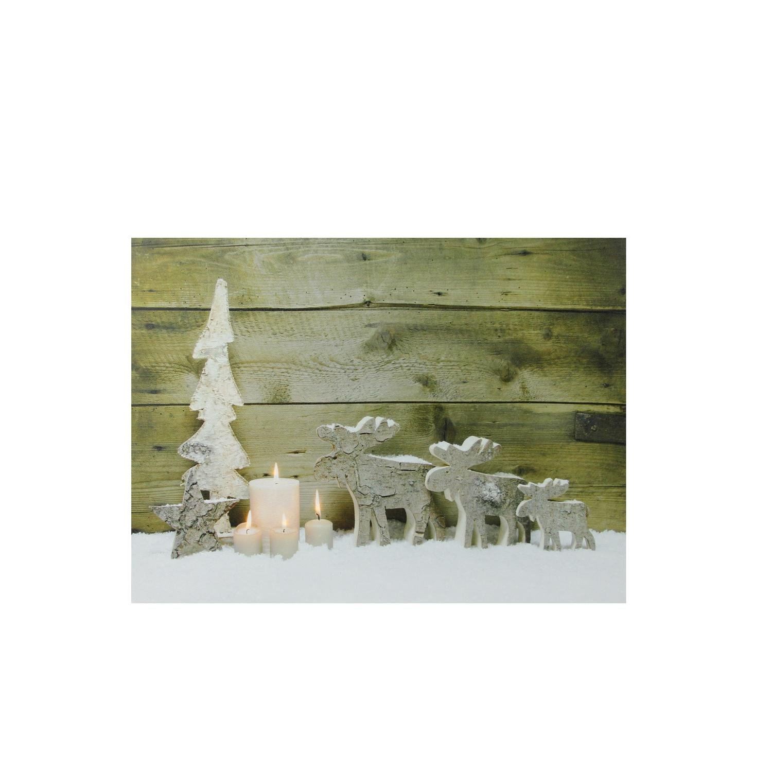 Northlight Lighted Candles and Winter Moose Canvas Wall Art, Brown