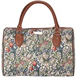 Signare Tapestry Stylish Travel Weekend Overnight Bag Hand Luggage Carry On in William Morris Golden Lily (TRAV-GLILY)
