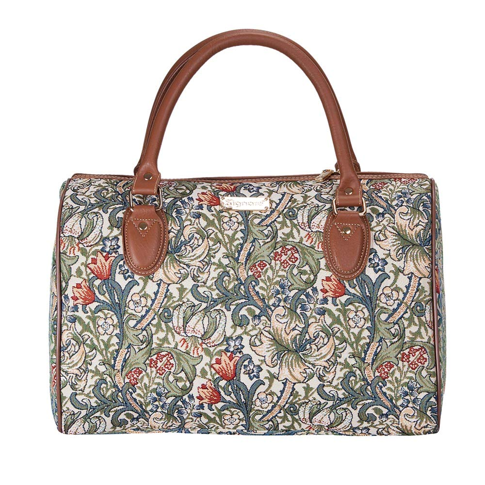 Signare Tapestry Stylish Travel Weekend Overnight Bag Hand Luggage Carry On in William Morris Golden Lily TRAV-GLILY