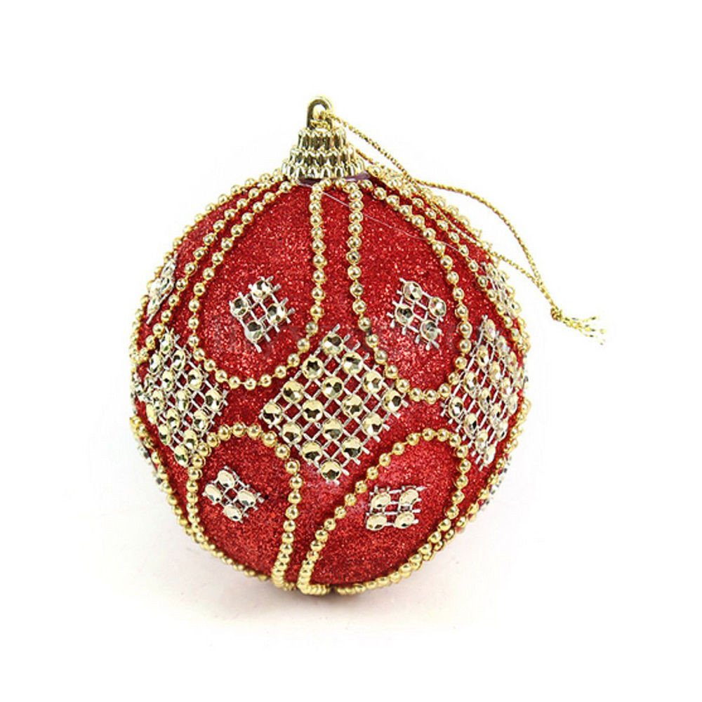 Joopee Christmas Sticky Rhinestone Glitter Chain High-Grade Ball Xmas Tree Ornament Ball 8CM(Red)