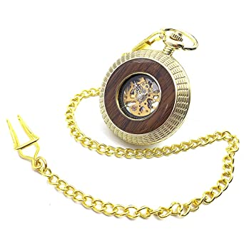 Golden Tone Wood Circle Hollow Case Roman Number Dial Hand Wind Mens Mechanical Pocket Watch w