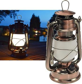 Oferta amazon: ChiliTec 22634 - Linterna LED para camping, diseño de cobre, intensidad regulable, funciona con pilas, 4 pilas AA, 23,5 cm de alto, ojal y argolla de color blanco cálido, 6 V           [Clase de eficiencia energética A]