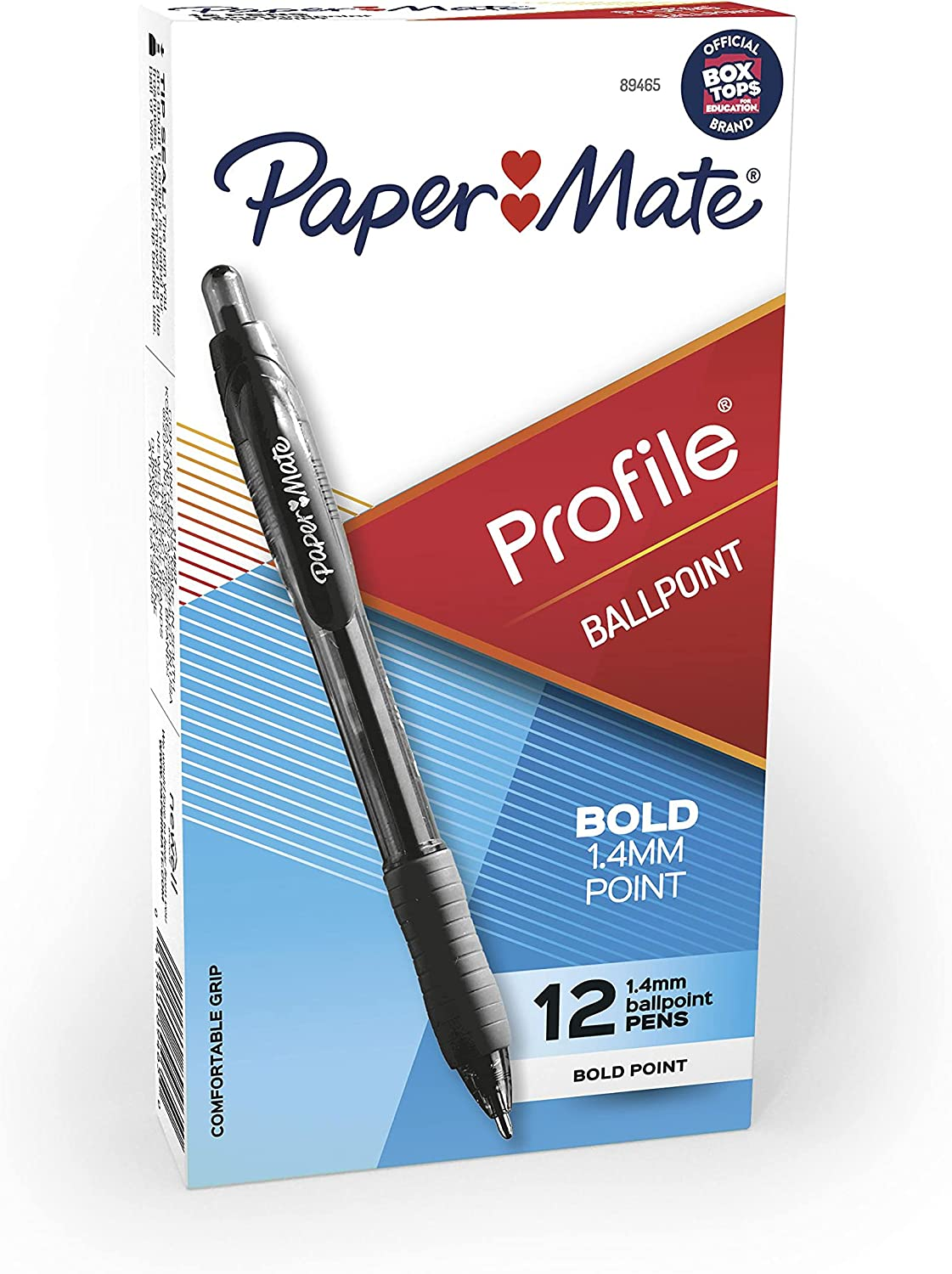 Paper Mate 89465 Profile Retractable Ballpoint Pens, Bold (1.4mm), Black, 12 Count (Package May Vary) : Rollerball Pens : Office Products