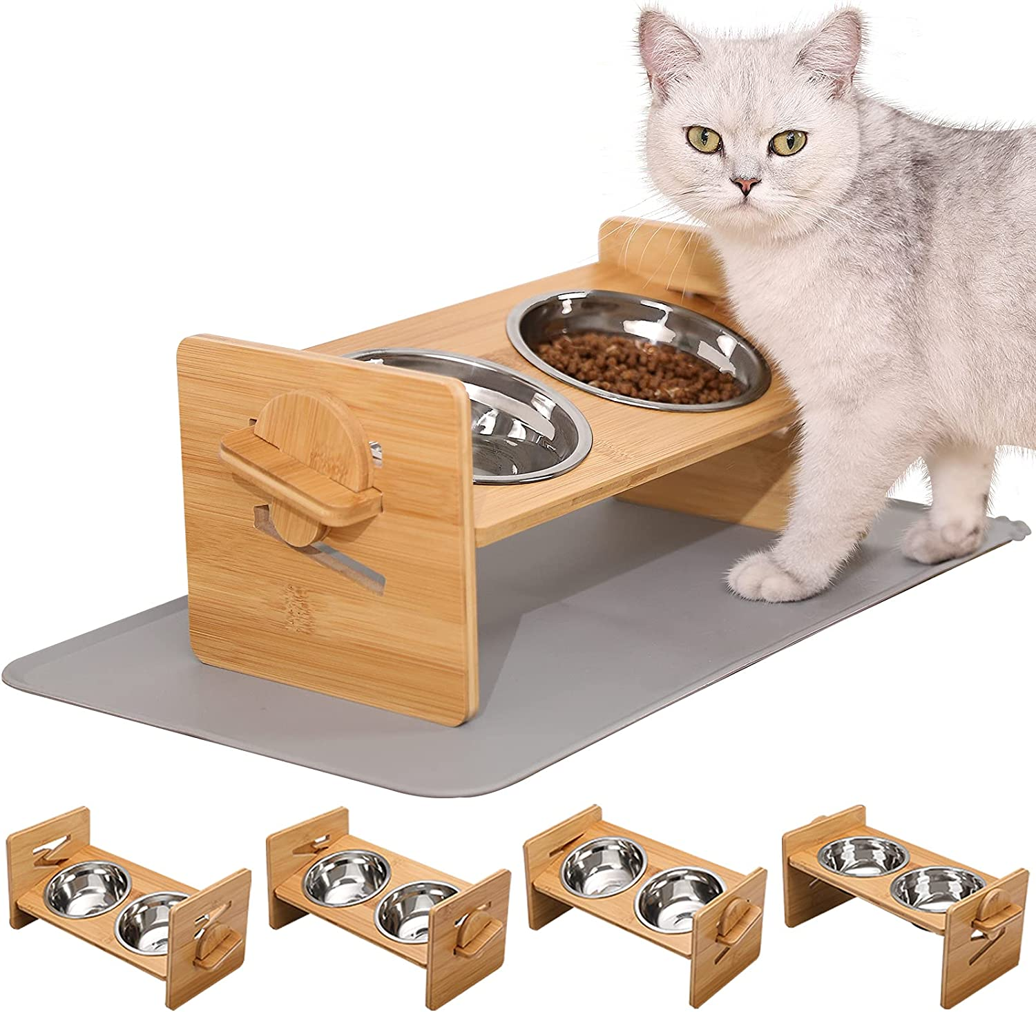 4 Heights - VALUCKEE Elevated Cat Bowls, 15° Tilted Raised Cat and Small Dog Food Water Bowls, Raised Pet Dish, Solid Bamboo Pet Stand Feeder Set, Pet Feeding Stainless Steel Bowls with Silicone Mat