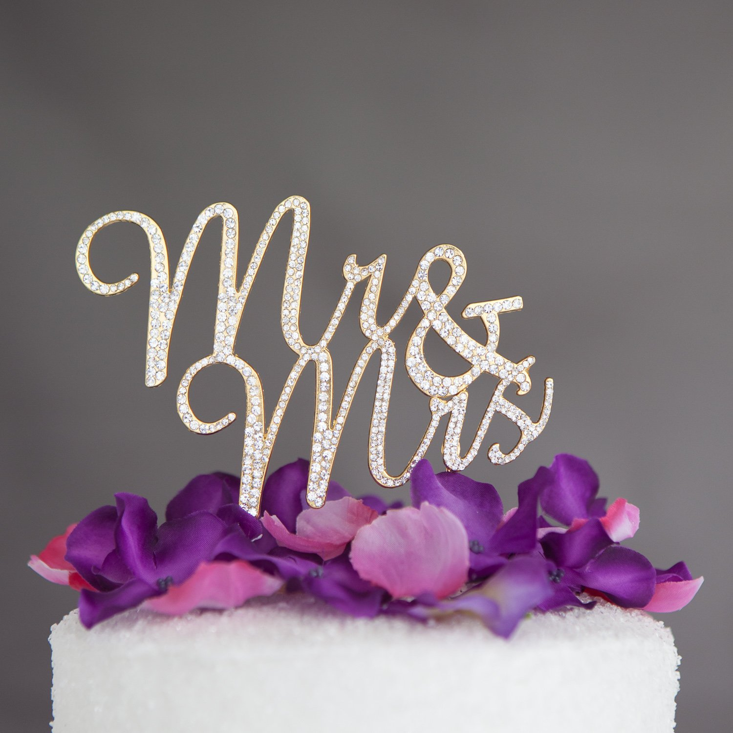 Amazon Mr And Mrs Wedding Cake Topper Gold Rhinestone Monogram Decoration Kitchen Dining