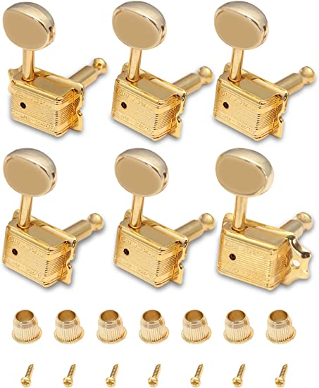 6 Keystone Tuning Key Buttons /& Screws GOLD For Grover Tuners NEW