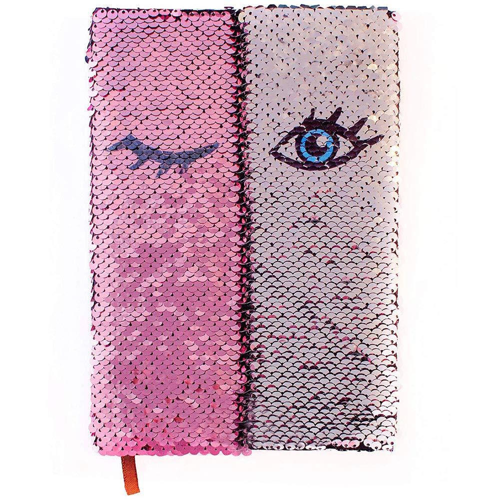YANGTE Flip Sequin Journal per ragazze | Taccuino di paillettes magico reversibile | Diario per donne a forma di sirena | Simpatico taccuino da scrittura rosa e argento | Segnalibro e portapenne | Carta color crema di alta qualità TIANXIN