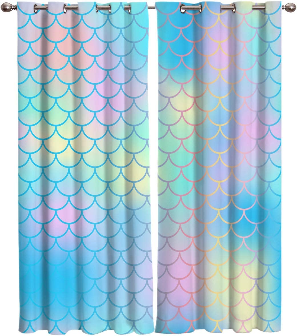 Arts Language 2 Panels Blackout Curtains for Boys Girls Bedroom Fish Scale Mermaid Printed Windows Treatment Grommet Drapes for Livingroom Office 52 W X96 H InX2