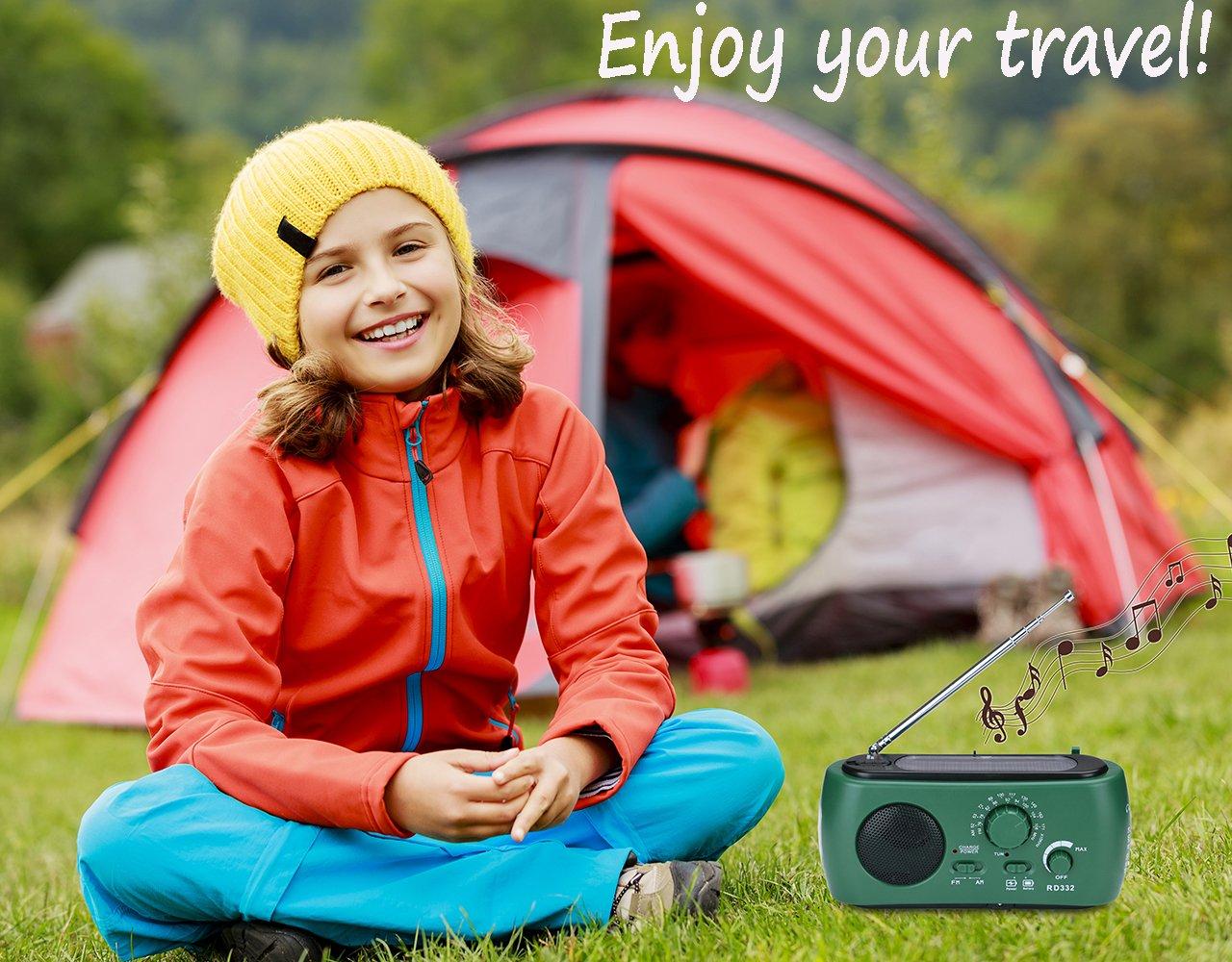 Frostory Solar Dynamo Hand Crank LED Flashlight FM/AM Radio with Emergency Power Bank Survival Kit 332FS (Green) by Frostory (Image #5)