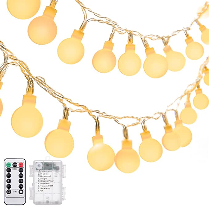Ball String Lights, Oak Leaf 16.4 ft 50 LED Globe Fairy Light Remote Waterproof for Outdoor Indoor Party, Battery Operated,8 Modes,Warm White