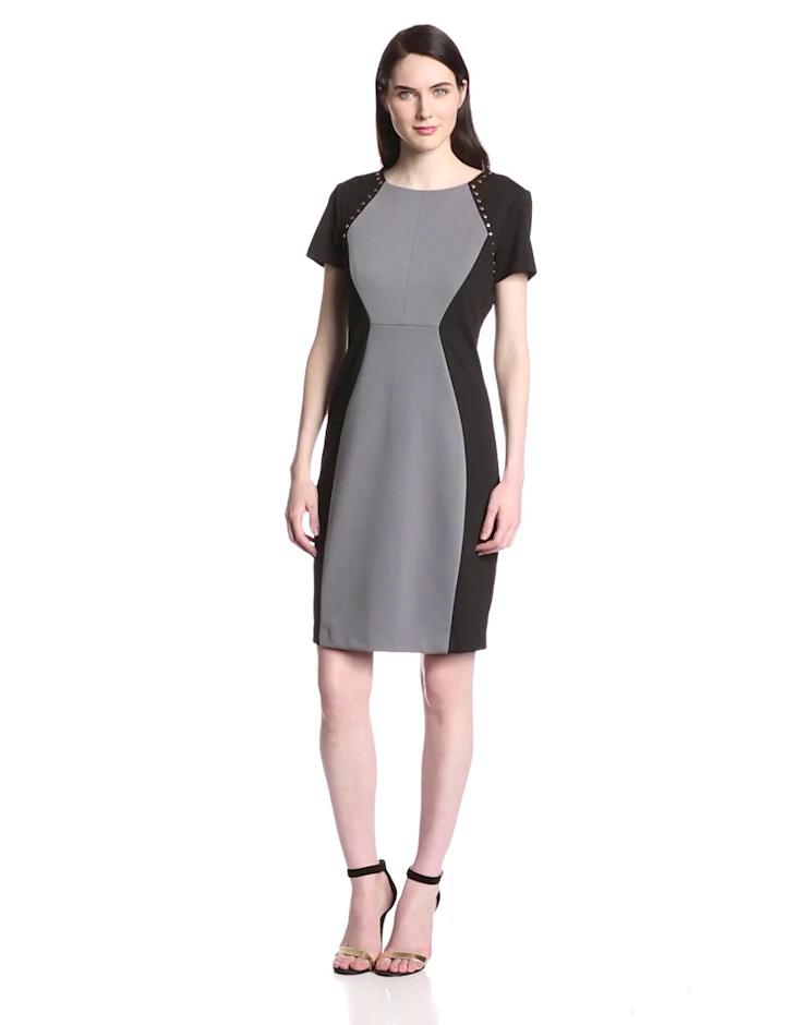 Sangria Women's Color Block Dress with Hardware, Black/Fog, 8
