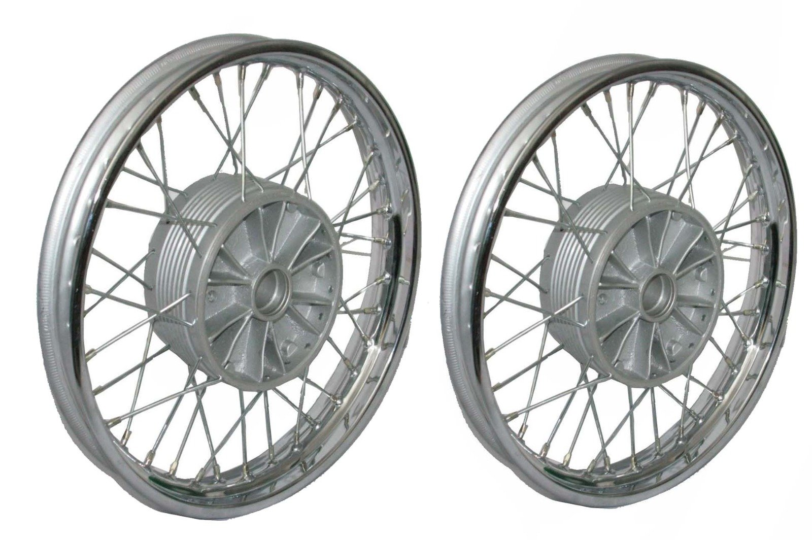 Enfield County Pair Chrome Plate Front Rear 16'' Wm2 Jawa 250 350 Cw 36 Holes Wheel Rim + Spokes