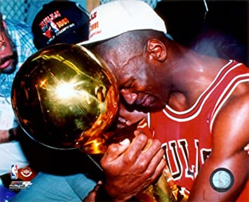Michael Jordan Game 5 Of The 1991 NBA Finals With Championship Trophy Photo 10 X 8in