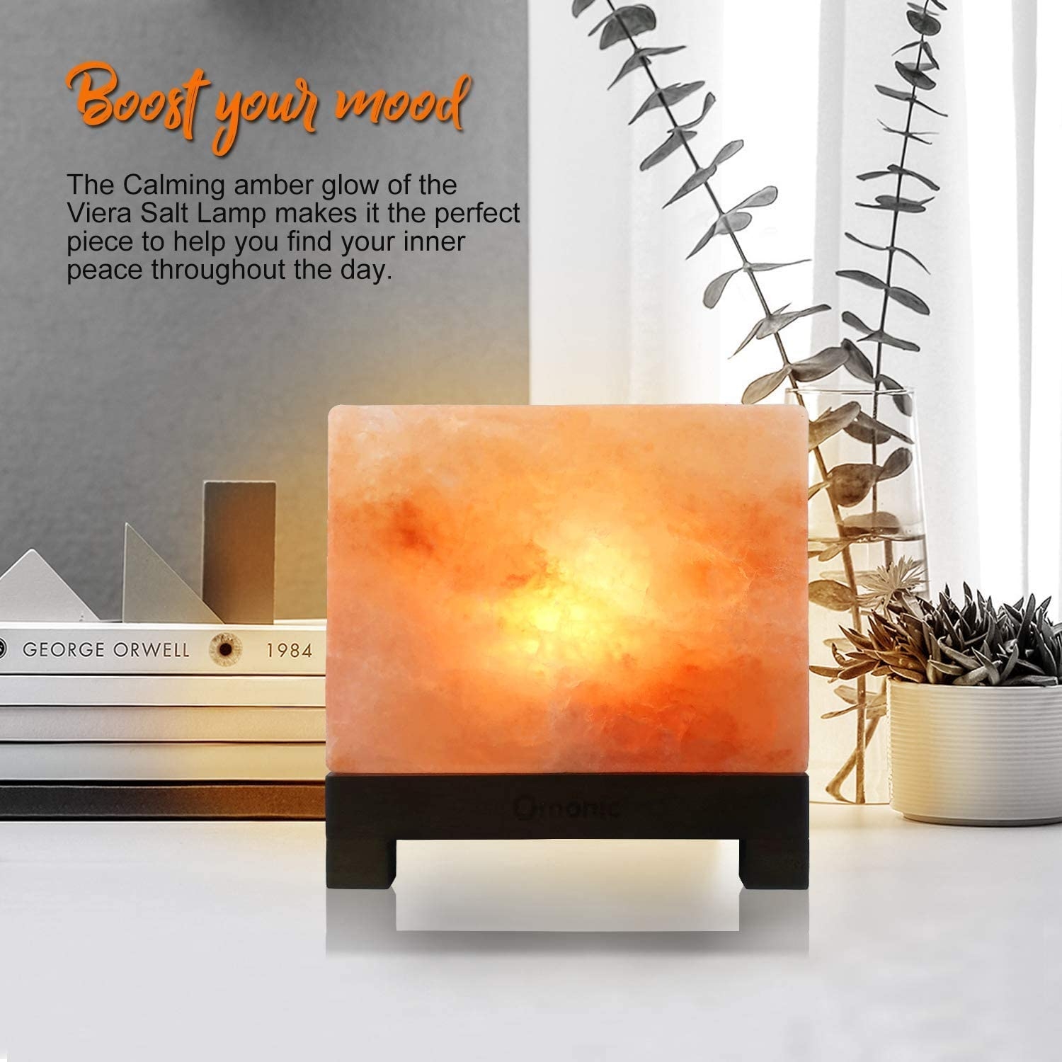 100/% Authentic Rare Cube Himalayan Salt Lamp; Hand-Carved Modern Rectangle in Pink Crystal Rock Salt from The Himalayan Mountains; Footed Wood Base UL-Listed Dimmer Cord Extra Bulb; 11.5 lbs