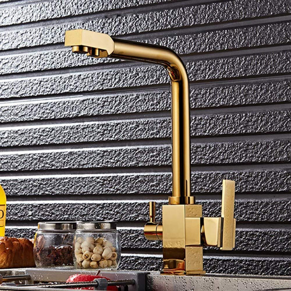 FZHLR Solid Brass golden Swivel Square Style Sink Mixer Drinking Water Kitchen Faucet 3 Way Water Filter Tap Sink Faucet Cold Hot Water Tap