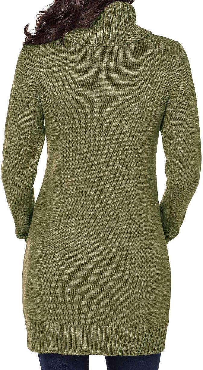 Itsmode Damen Pullover Kleid Elegant Strickkleid Casual Langarm Winterkleid Einfarbig Rollkragen Jumper Minikleid Elegante Warme Wickelkleid 3-grün