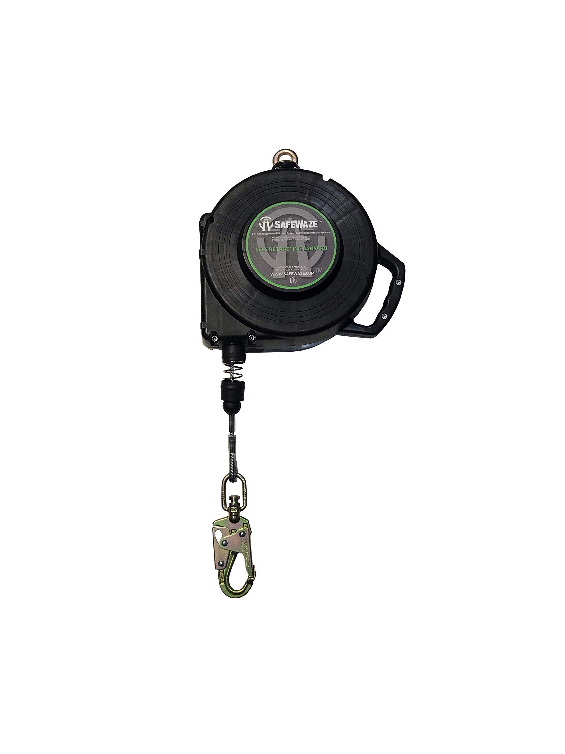 SafeWaze 65' Cable Retractable Lifeline with Locking Snap Hook, Single Person Fall Protection Device, OSHA/ANSI Compliant (FS-EX1065-G)