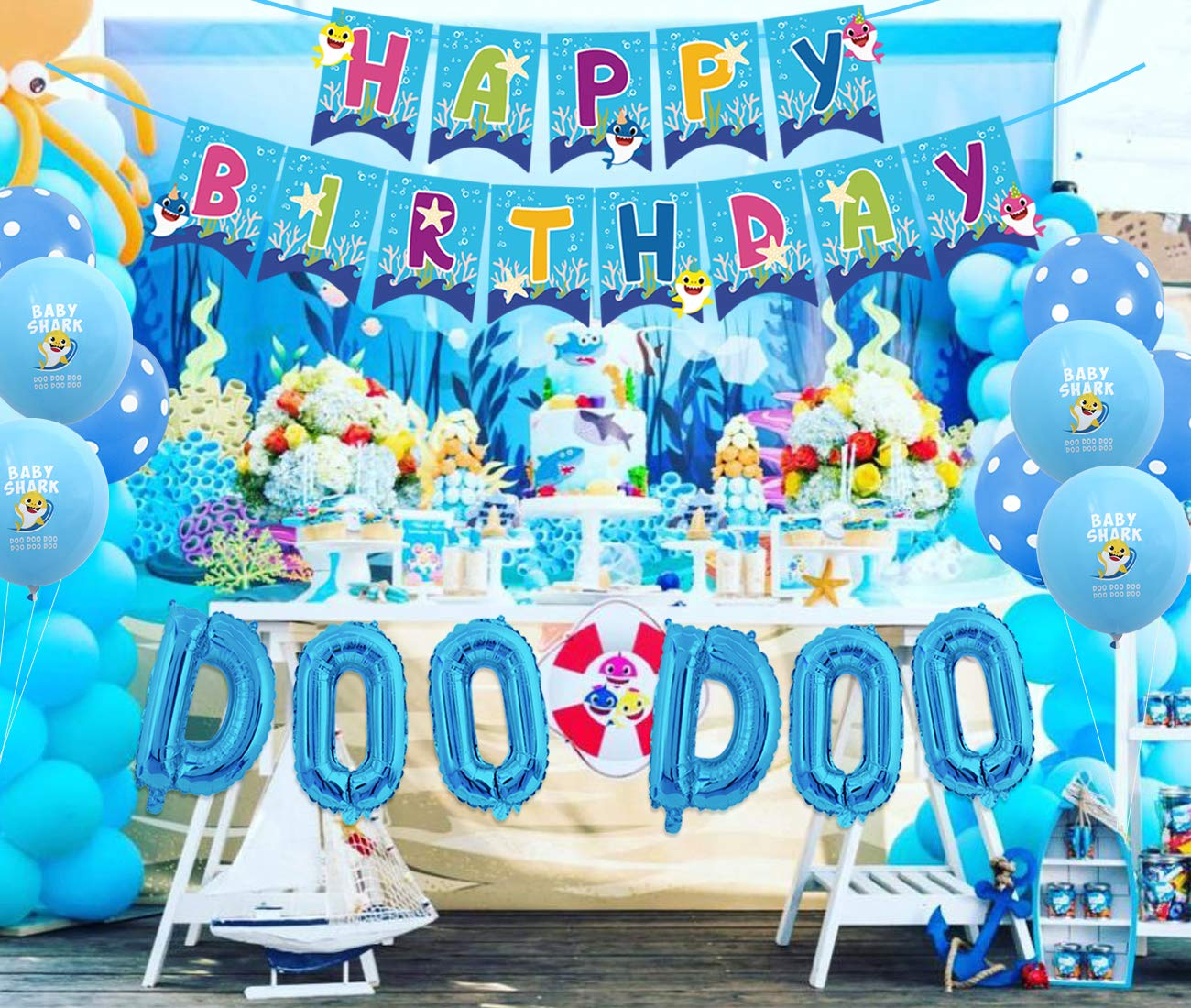 JOYMEMO Baby Shark Birthday Party Decorations for Boy DOO ...