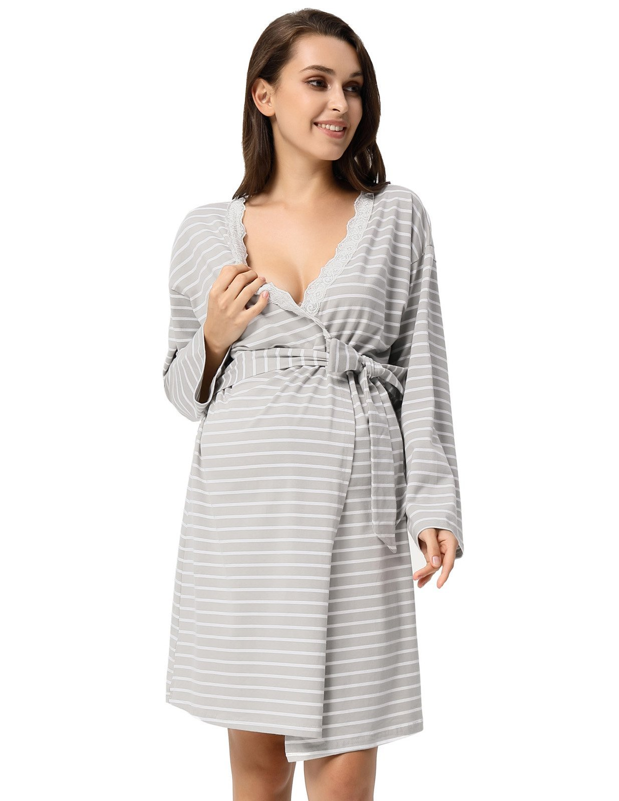 GRACE KARIN Women's V-Neck Knee Length Wrap Flower Printed Maternity Dress with Belt L Grey