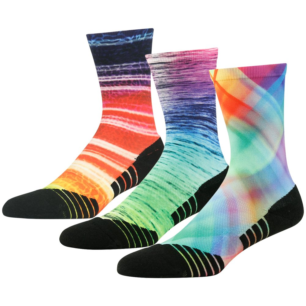 Wedding Theme Socks Novelty, HUSO Men's Women's Art Unique Printing Seamless Lightweight Crew Mid Calf Socks 3 Pairs (Multicolor, L/XL)