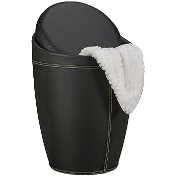FineBuy Wäschebehälter STORE Wäschekorb Farbe Schwarz Hocker mit Funktion  Badhocker gepolstert mit Stauraum Bezug Kunstleder Sitzhocker 100 kg ...