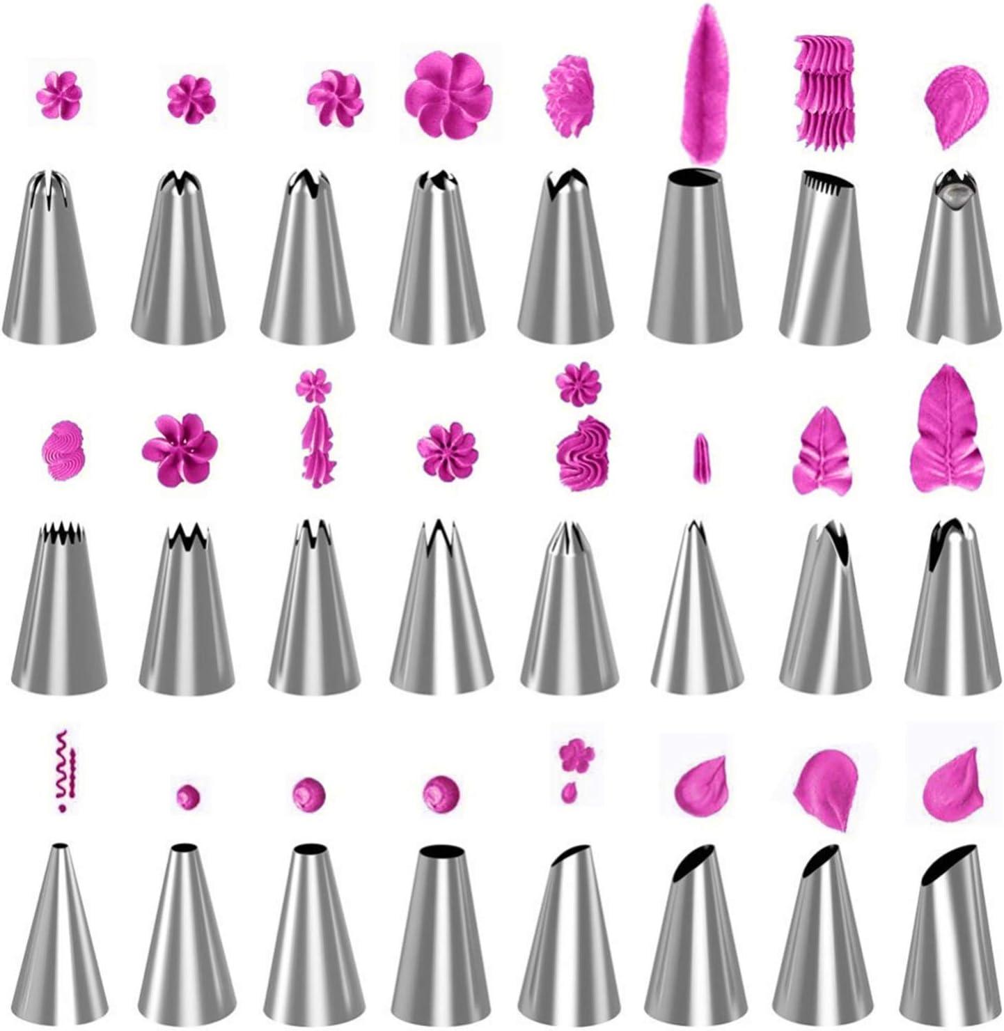 33 Pcs Libertepe Poches /à Douilles R/éutilisable Silicone Douille INOX 6//24 Formes Kit de P/âtisserie Professionnel 8//33 Pcs