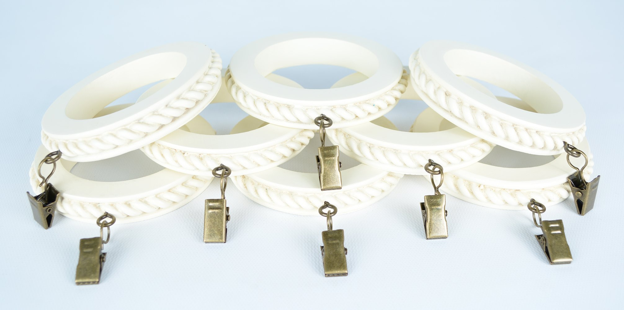 Urbanest Set of 8 Large Rope Designer Curtain Rings in Ivory