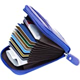 MaxGear Credit Card Wallet with Zipper, Genuine Leather RFID Credit Card Holder for Women Ladies Wallets