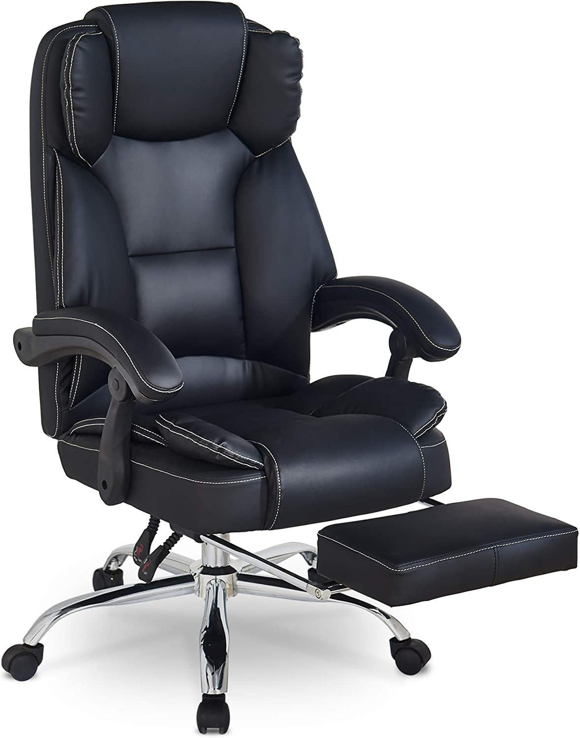 Office Chairs,Executive Office Desk Chair,Computer Desk Chair Ergonomic Chair for Office High Back Reclining Office Chair with Footrest,Adjustable Height Leather Computer Chairs on Wheels