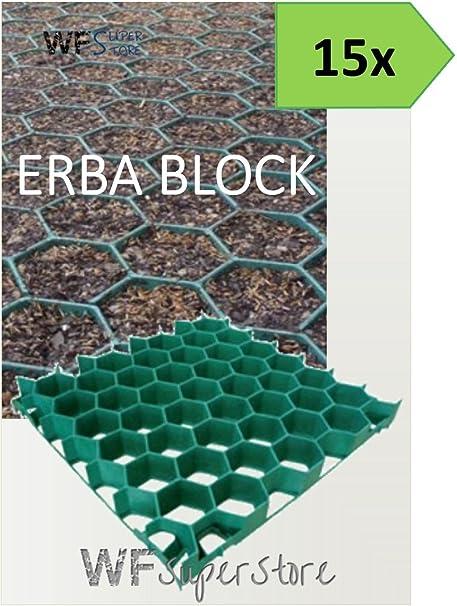 Grigliati In Plastica Per Giardino.Wueffe Grigliato Salvaprato Salvaverde In Plastica Carrabile Erba Block 15 Pezzi