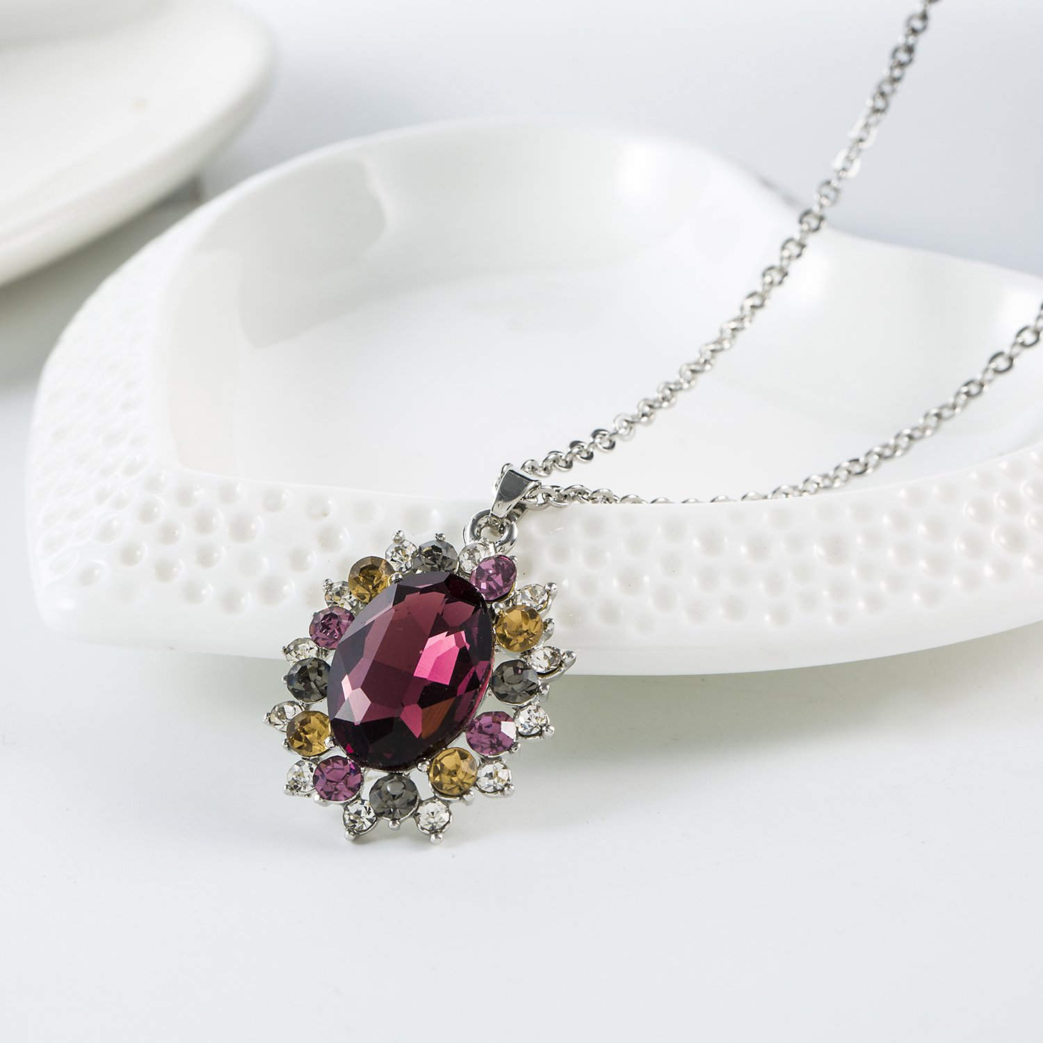 Necklaces for Women Round Cubic Zirconia Halo Pendant Necklace with 316L Stainless Steel Chain
