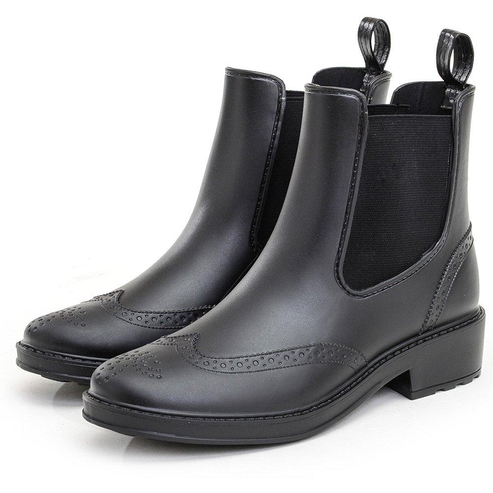 STELLE Women's Shorty Farm&Garden boot, Rain Boot, Brogue Style Waterproof Boots, Chelsea Booties, Black Elastic Slip On Ankle Rubber Booties (Women & Girls)(Black, 8M)