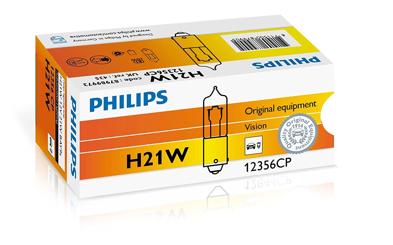 car light bulbs H21W, 21 W, Fog light, High beam, Interior light, Low beam, Parking light, Signaling, Stop light, Box, H21W Philips Vision Conventional Interior and Signaling 12356CP