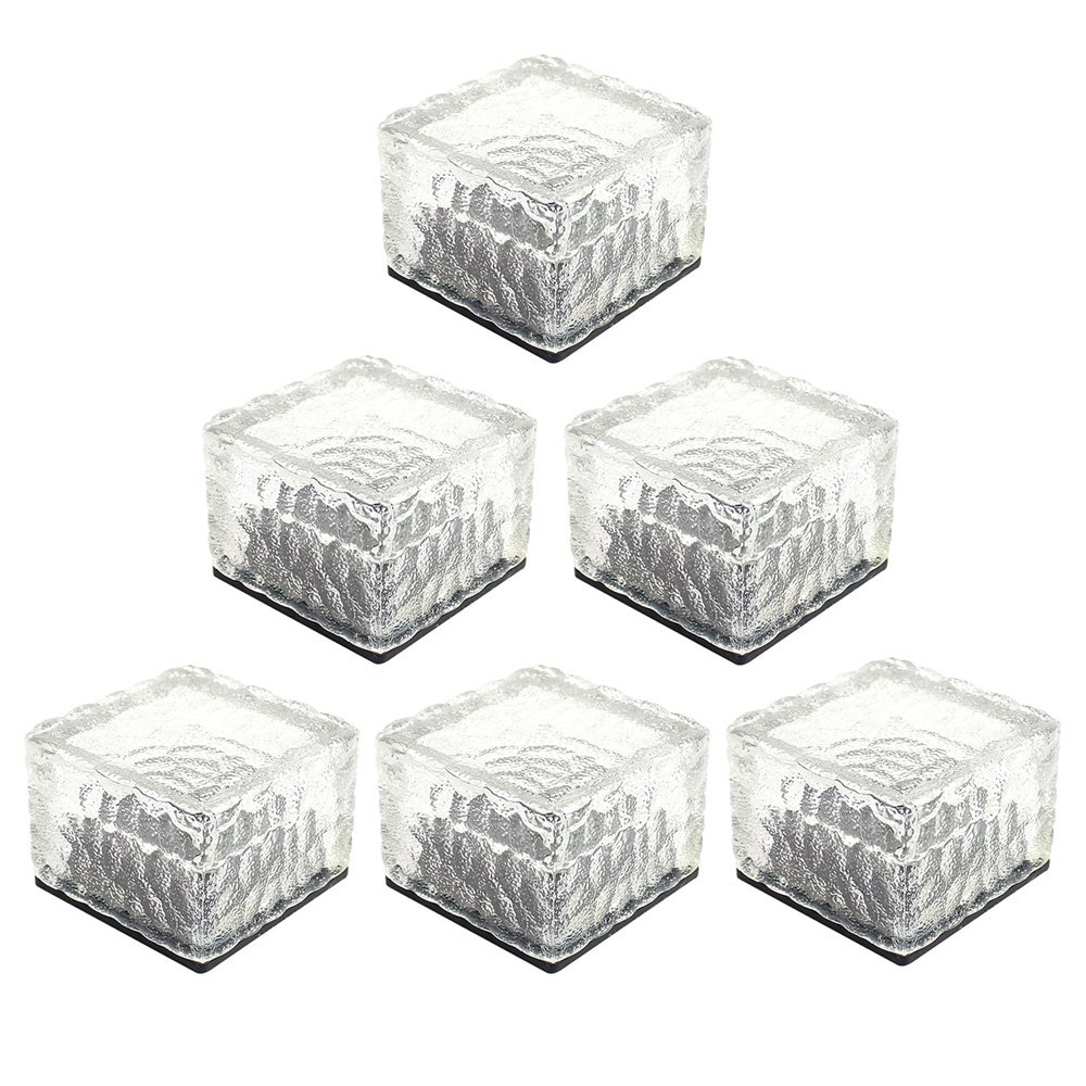 HIOTECH LED Solar Brick Light 6 Pack Waterproof Glass Brick Lights for Outdoor Decoration (White)