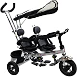 Costzon 4 In 1 Dual Twins Kids Trike Baby Toddler Tricycle Safety Double Rotatable Seat w/ Basket, Black