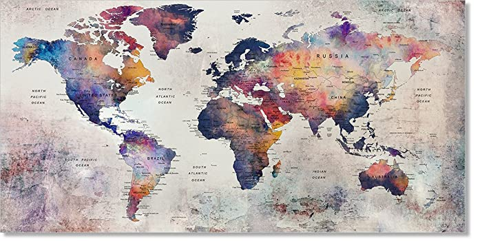 Amazon giant push pin world map wall art poster rustic giant push pin world map wall art poster rustic decorative artwork globe world travel print gumiabroncs Image collections