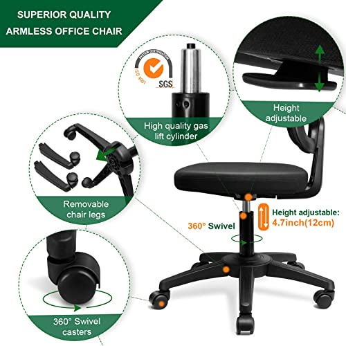 KOLLIEE Armless Office Chair Mesh Ergonomic Small Desk Chair Armless Adjustable Swivel Black Computer Task Chair No Armrest Mid Back Home Office Chair