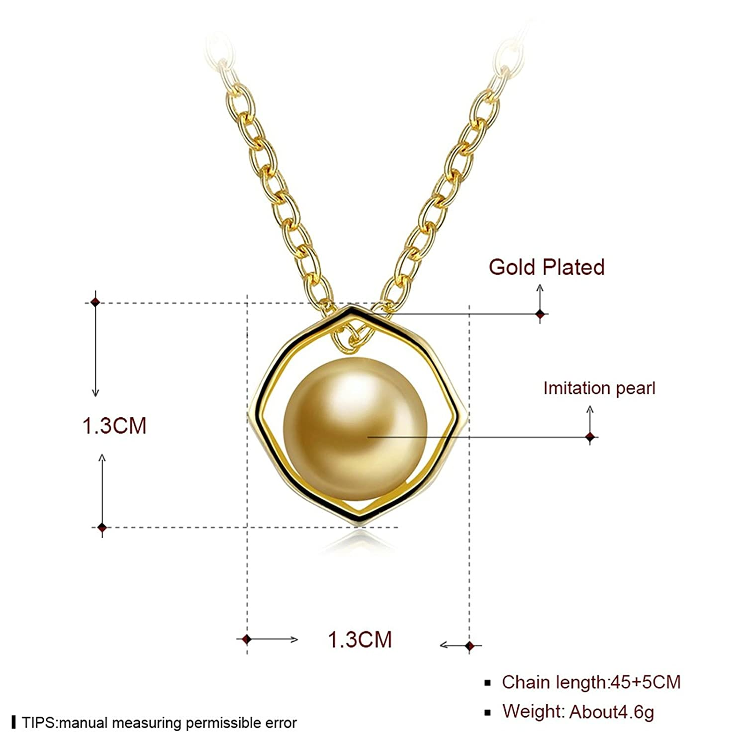 MoAndy Gold Plated Women Necklace Chain Pearl Gold Length 45+5CM