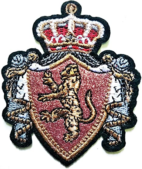 GOLD LION RAMPANT SHIELD  Embroidered Iron Sew On Cloth Patch Badge APPLIQUE